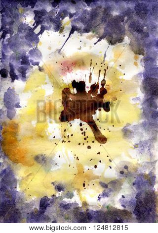 Watercolor background resembling flower Pansies made the application of stains on paper
