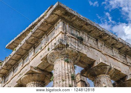 Close Up Of Temple Of Neptune In Paestum. Italy