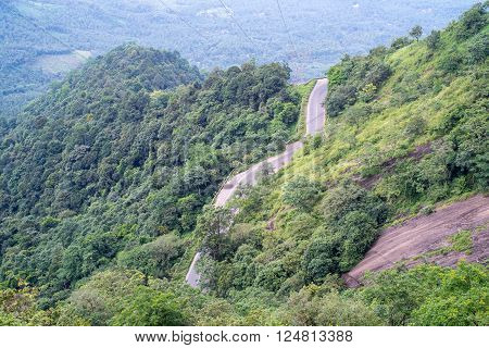Wayanad Kerala India. A road with a lot of loops on a mountain. winding road churam inside forest