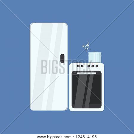 Fridge And Stove Primitive Graphic Style Flat Vector Icon On Blue Background