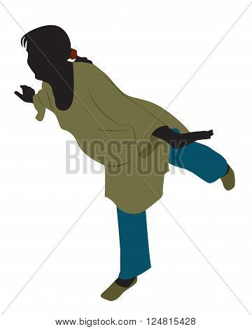 Pregnant woman in loose clothing standing on one leg. Vector illustration