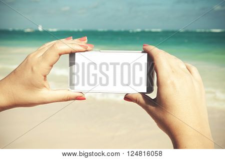 Woman Holds Phone With White Empty Screen
