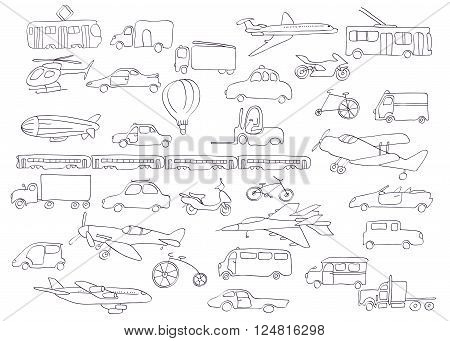 Vector flat icon set with hand drawn element. Cartoon outline transport collection. Car truck van airplane bicycle train motorcycle