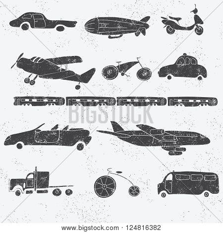 Vector vintage icon set with hand drawn element. Cartoon textured transport collection. Car truck van airplane train bus scooter bicycle dirigible