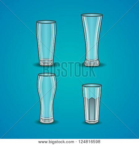 Vector set of stemware. Transparent glass on a blue background.