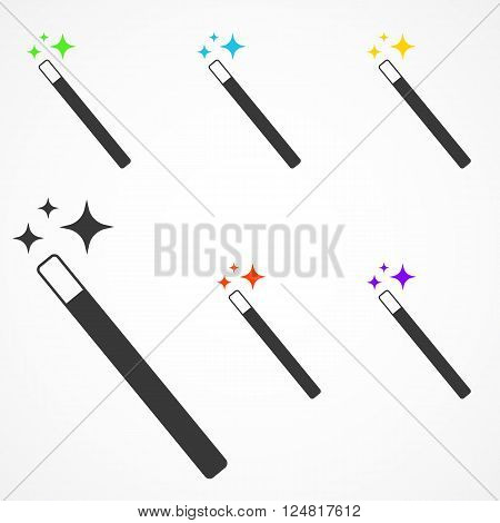 Vector Set of Magic Wand icon with star sparkle. Flat style magic wand icon. Isolated on white background.