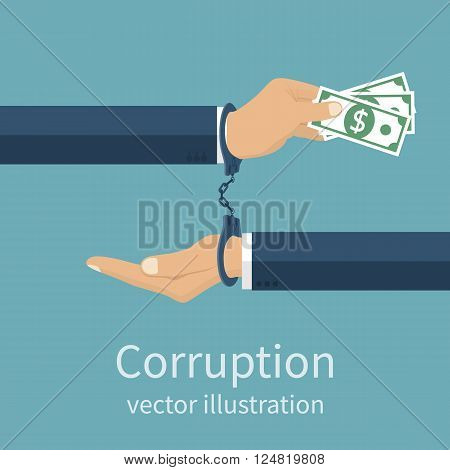 Handcuffs on hands during business corrupt deal. Anti corruption concept. Stop corruption. Vector illustration flat design style. Bribery vector. Corruption icon.