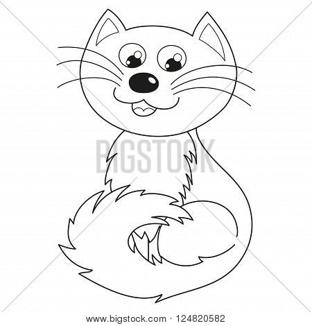 Cartoon kitty, vector illustration of funny cute joyful cat with kind muzzle, homebody cat smiling and sitting, coloring book page for children