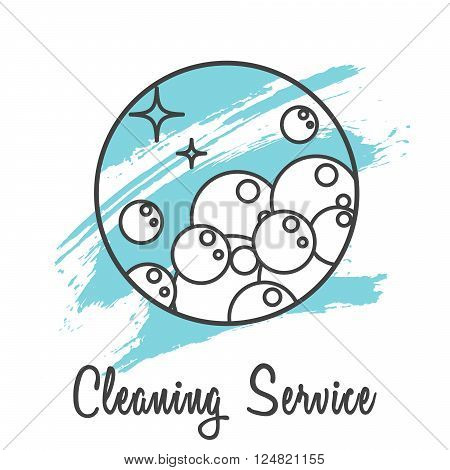 Cleaning service company logo badge. Wash business label for logotype template. Soap bubbles in round line icon with brush strokes on background.