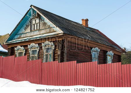 typical village house in the countryside in Russia