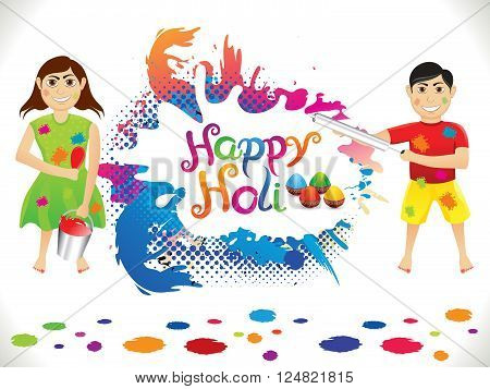 abstract artistic detailed holi background vector illustration