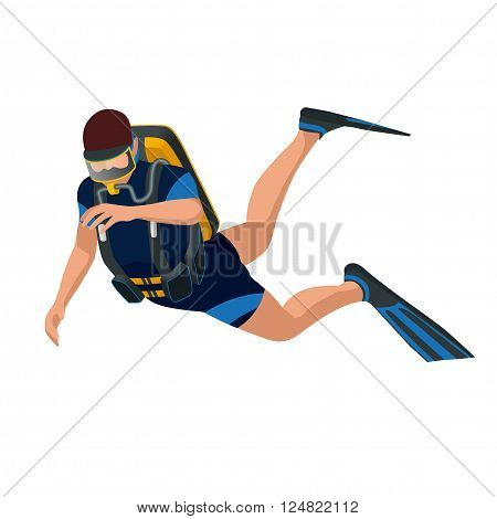 Scuba diver diving man front view. Scuba diving flat 3d isometric vector illustration. Scuba diver swimming under water