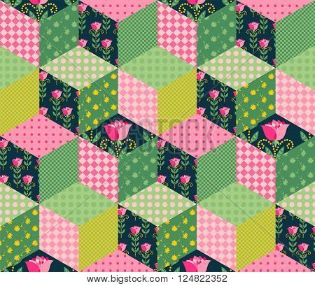 Seamless patchwork pattern with green, pink and floral patches