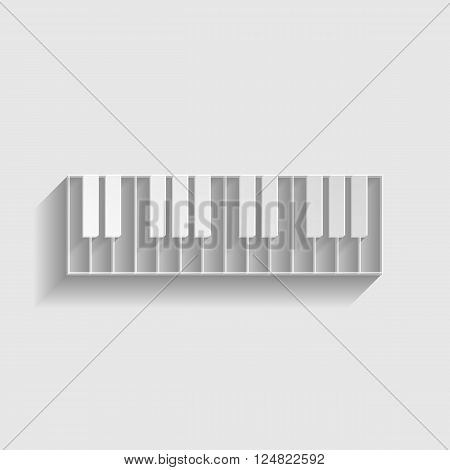 Piano Keyboard  sign. Paper style icon with shadow on gray.
