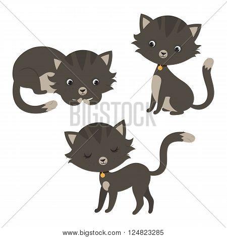 Set of funny cartoon cats. Vector illustration.