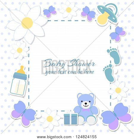 Baby shower boy invitation card. Place for text. Greeting cards. Vector illustration. Teddy bear with a gift box blue background flowers.