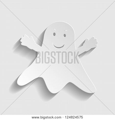 Ghost isolated sign. Paper style icon with shadow on gray.