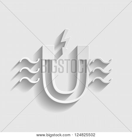 Icon of magnet with magnetic force indication. Paper style icon with shadow on gray.
