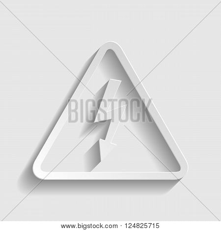 High voltage danger sign. Paper style icon with shadow on gray.