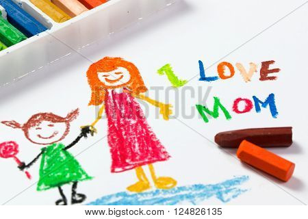 Kid drawing of mother and girl for happy mother's day theme