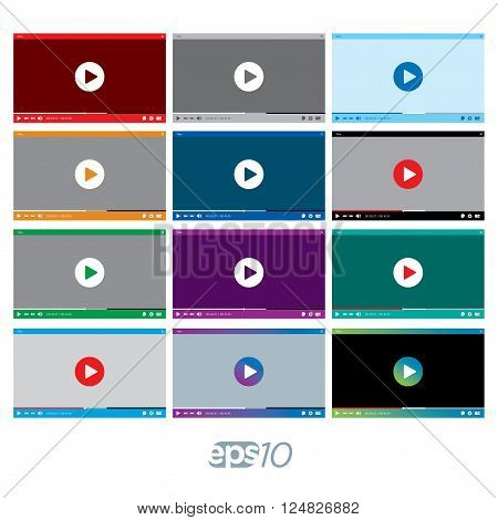 Video Player vector template set for web interface