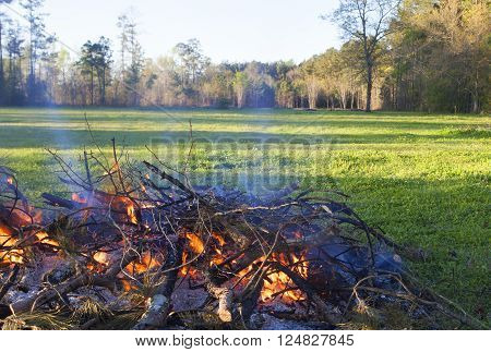 Pile of branches and brush being burned in a green field