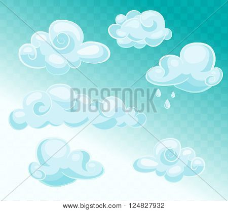 Set of blue sky clouds. Cloud icon cloud shape. Set of different clouds. Collection of cloud icon shape symbol. Graphic element vector. Vector design element for logo web and print.