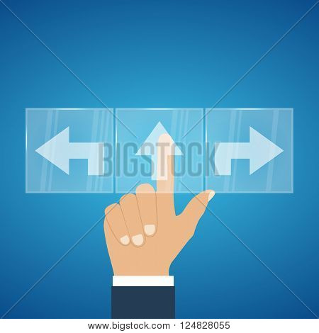 Businessman pressing button on touch screen interface arrows choice. Direction pointer. Vector illustration. Icon choice direction. Modern concept of choice. Decision making.
