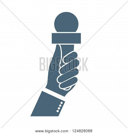 Microphone hand icon. Journalist holding microphone. Live news template. Vector illustration. Silhouette of hand with a microphone.