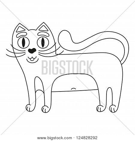 Cartoon kitty, vector illustration of funny cute red cat with white tummy, cat smiling and standing, coloring book page for children
