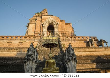 the Wat chedi Luang in the city of Chiang Mai in North Thailand in Thailand in southeastasia. ** Note: Visible grain at 100%, best at smaller sizes