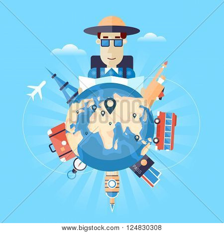 World Travel. Planning summer vacations. Tourism. Summer holiday. Man travels the world. Tourism and vacation theme. Flat design vector illustration