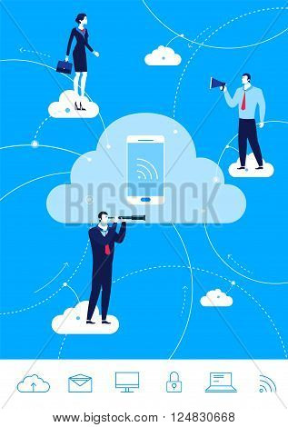 Flat design vector concept illustration. Teamwork. Businessman and businesswoman conducting business through the cloud. Choose the right path. Vector clipart. Icons set.