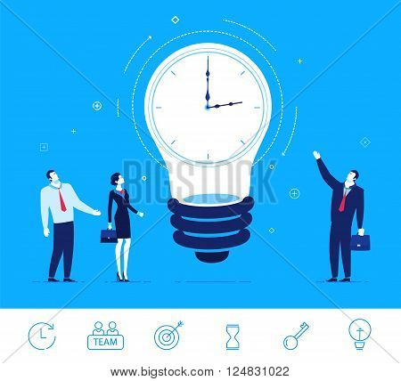 Flat design vector concept illustration. Businesspeople are standing around the clock lamp. Time is money. Ideas generator. Vector clipart. Icons set.
