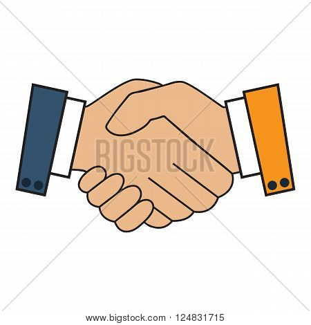 Handshake icon. Background for business and finance. Symbol of a successful transaction. White outline on a blue background. Vector illustration.