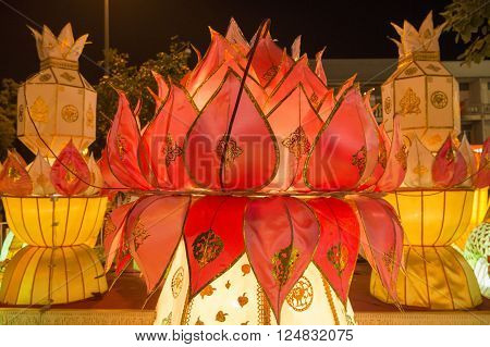 a lantern at the Loy Krathong Festival in the city of Chiang Mai in North Thailand in Thailand in southeastasia. ** Note: Visible grain at 100%, best at smaller sizes