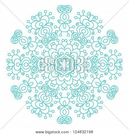 Round ornament vintage floral mandala. The esoteric symbol on a white background. Om sign in the eastern style Indian ethnic ornament.
