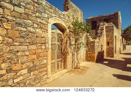 Old Agios Nikolaos fortress Spinalonga Crete Greece