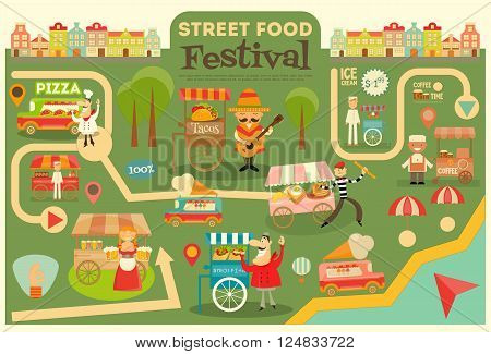 Street Food Festival on City Map. Food carts on Infographic Card. Sellers and Trucks with Food. Mexican Italian Greek French Cuisine. Vector Illustration.