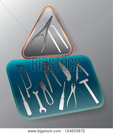 Working tools in a triangular and rectangular administrator icon