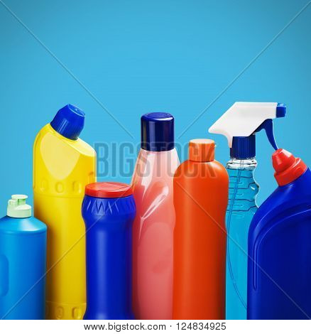 Cleaning supplies on blue background merchandise sanitary