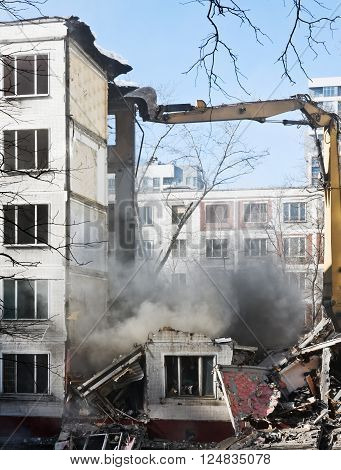 demolition of dilapidated and old apartment building in Moscow. Russia