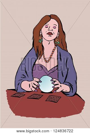 Fortune-teller image of woman with sphere between hands