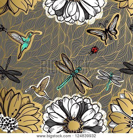Seamless pattern flowers, butterflies, hummingbirds, dark background. Gold flowers, black elements,flower line,gold thread pattern,gold seamless lace.Spring,summer theme.