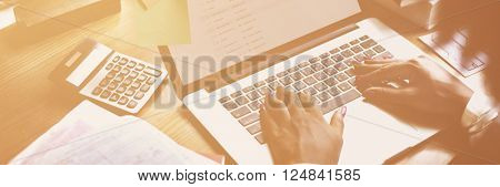 Businessman Using Laptop Working Thinking Concept