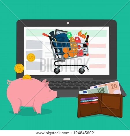Vector concept advantages methods shopping online. Infographics of online payment and fast delivery of goods. Cash, money pig and shopping trolley with a laptop. Flat style. Web infographics