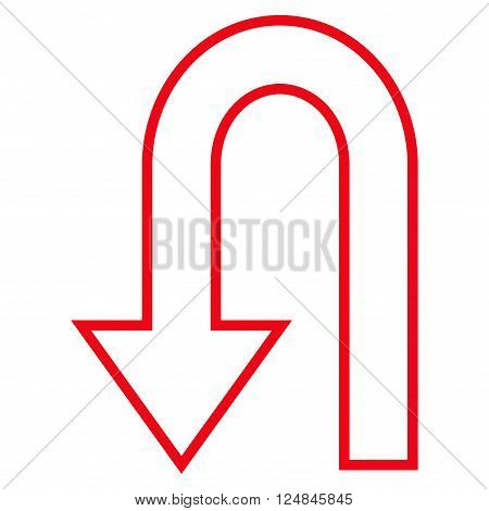 Return Arrow vector icon. Style is thin line icon symbol, red color, white background.