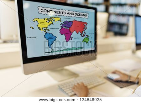 Academic School Childern E-learning Geography Concept