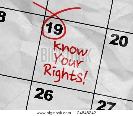 Concept image of a Calendar with the text: Know Your Rights