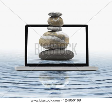 Zen stones in water getting out the laptop, Zen computing concept-  clipping path included